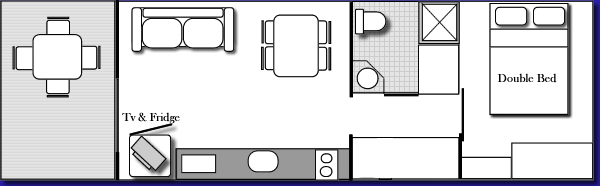 1 Bedroom Cabin  Floor Plan